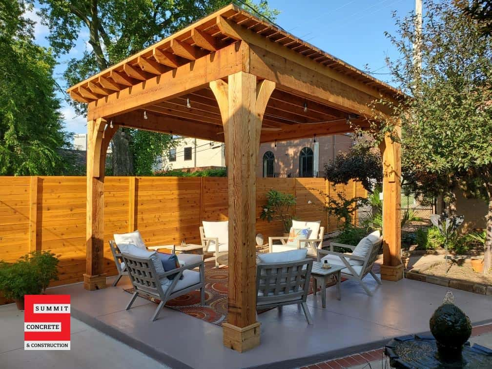 Beautiful wood pergola in Tulsa with fencing and concrete IMG 6340